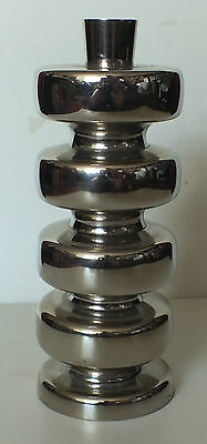 Heavy And Large Hooped  Modernist/deco Silver Plated Candlestick