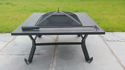 Outdoor Garden Fire Pit Firepit Brazier Square Wood Stove Patio Heater BBQ NEW