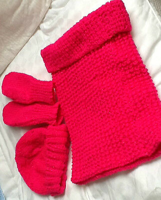 BRIGHT PINK 3  piece SET - Snood (Neck Roll)  / Hat / Mittens) HAND KNITTED