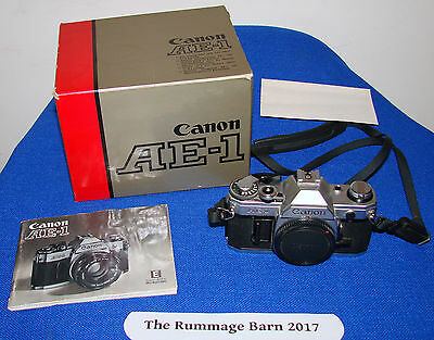 vintage CANON AE-1 SLR 35mm CAMERA BODY -- ae1 -- with BOX & MANUAL -- damaged