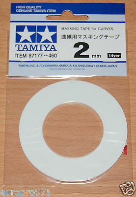 Tamiya 87177 Masking Tape for Curves 2mm Width, 20m Length, for RC Body Shells