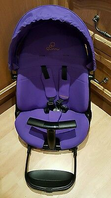 Brand new Quinny Moodd seat unit in purple with hood and T-bar