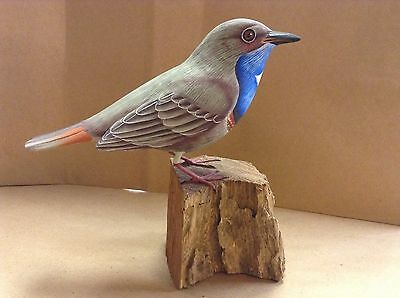 hand carved and painted Blue throat Bird