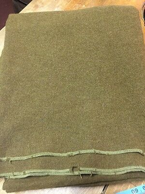 VINTAGE - WOOL ARMY/ MILITARY BLANKET - 60 x 80 - GREEN COLOR