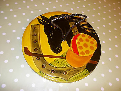 Vintage French Cheese Serving Platter Horse Racing Interest