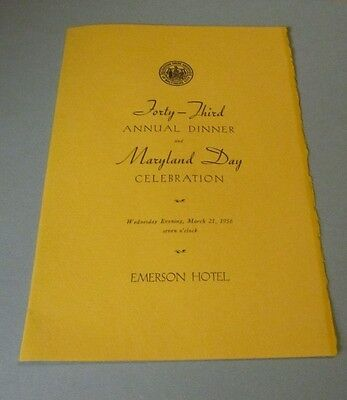 1956 Maryland Day Celebration Dinner Menu and Program Emerson Hotel Baltimore MD