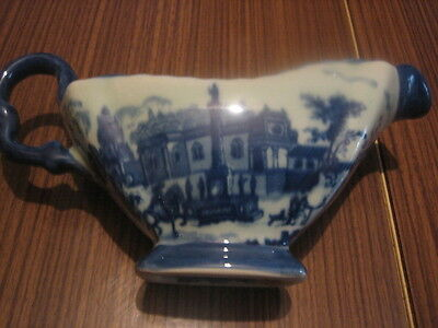 Lovely Blue/white Gravy Boat Backstamped With Lions Old