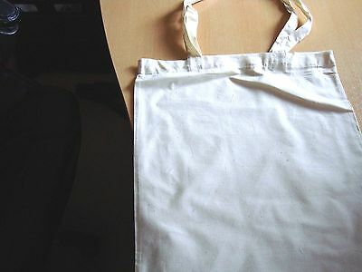 2 x Plain Long Handled  Tote Bags For Fabric Painting  38cm x 43cm
