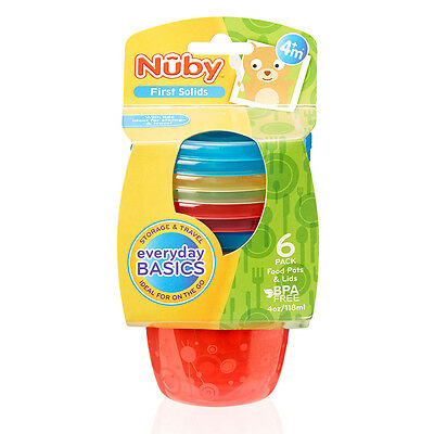 Nuby Colourful Baby Easy Travel Storage Non-Spill Food Pots With Lids 6 Pack