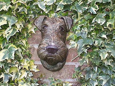 Big Bronzed  Airedale Terrier Dogs  Stone Head Wall Sculpture