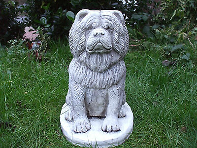 Big Sitting Chow Chow  Dogs Dog  Stone Garden   Sculpture Statue