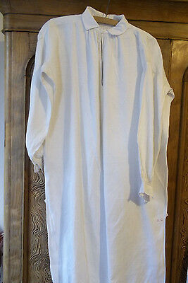 "Vintage French Linen Nightshirt Collar Rustic ""AG"""