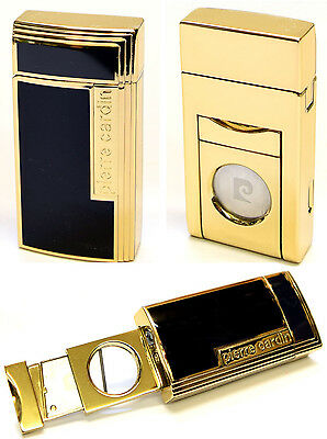 Pierre Cardin Cigar Lighter with Built-In Cutter - Black Lacquer & Gold Finish