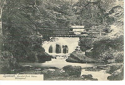 """RPPC Of """"  LYNMOUTH -Coombe Park Water , Watersmeet """" posted 1909"""