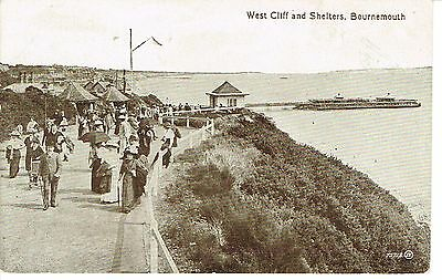 """RPPC Of """"  West Cliff and Shelters , Bournemouth  """" unused card"""