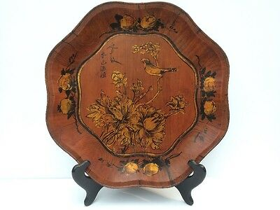 Vintage Chinese Wooden Decorative Plate Birds Flowers Asian Scalloped Edges
