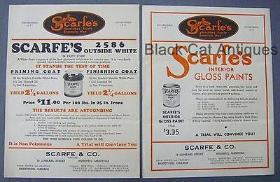 Original Vintage Lot Of Two Sell Sheets Scarfe's Paint Co. (Includes Prices)