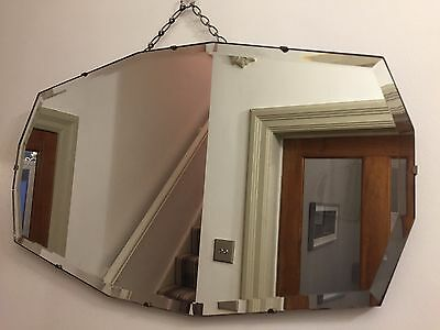 VINTAGE Bevelled Frameless Wall MIRROR Art Deco 30s 40s 66X38cm ORIGINAL CHAIN