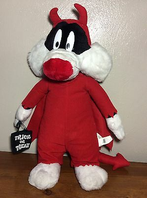 "Sylvester the Cat Looney Tunes 18"" Plush Toy Halloween Devil RARE"
