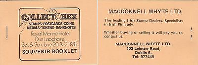 Ireland 1981 Collectorex Dun Laoghaire Private Advertising Stamp Booklet