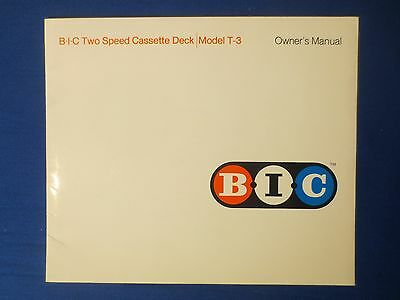 B I C T-3 Cassette Owner Manual Factory Original Issue The Real Thing