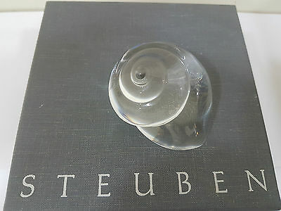Signed Steuben Crystal Glass Gmelin Seashell Paperweight With Box & Felt Bag