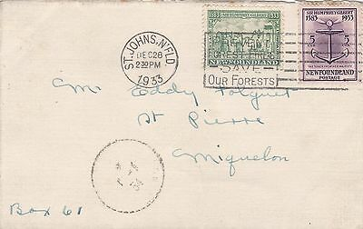 Newfoundland 1933 Cvr St John's to St Pierre et Miquelon 7c Rate Davy Issue