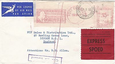 South Africa 1967 Airmail Express Meter Cover to London England 35c Rate