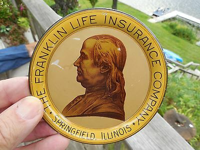 ORIGINAL c1884 - 1920's FRANKLIN LIFE INSURANCE TIP TRAY - BEN FRANKLIN TIN LITH