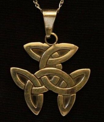 CELTIC Knot wicca TRICEP Sterling Silver PENDANT charm 24K Gold Plated Jewelry