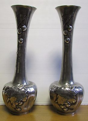 Vintage French Pewter Etains D'Art Pair of Vase's by T Cories ??