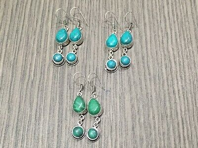 WHOLESALE LOT 3 pcs TURQUOISE &MALACHITE STONE.925 SILVER OVERLAY EARRING 28 GMS