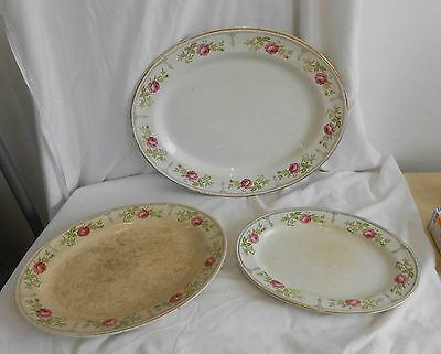 STUNNING Vintage Collectable SET Of 3 SOHO POTTERY 19th CENTURY SERVING PLATTERS