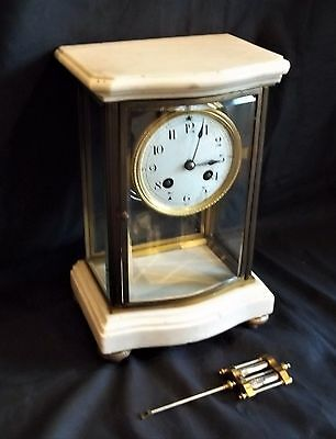 Very Good French Four Glass Striking Mantle Clock With White Marble Top & Base