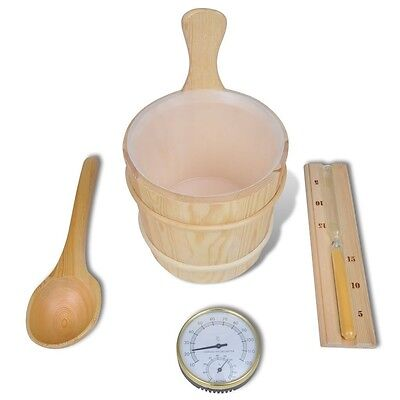 Wooden Sauna Bath Spa Accessories Solid Wood Heater 5 Pieces Bucket Spoon Timer