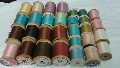 Lot of 30 antique wooden sewing thread spools