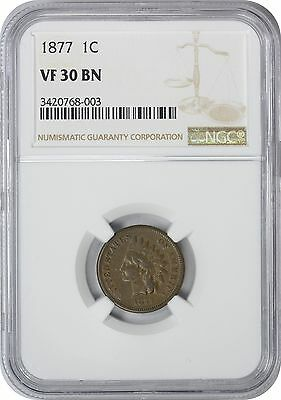 1877 Indian Cent VF30BN NGC Very Fine 30 Brown