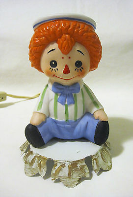 Raggedy Andy Porcelain Accent Night Light Table Lamp - Tested & Working!