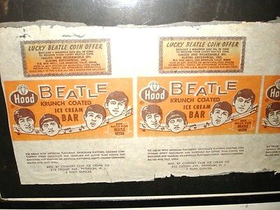 Beatles rare ice cream bar wrappers uncut matted sheet 1964