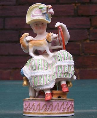 Antique Meissen / Chelsea Girl With Doll And Mirror Figure