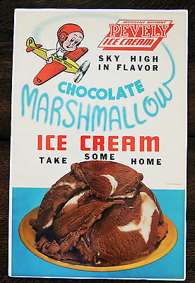 """1940's """"PINKY"""" PEVELY DAIRY StL ICE CREAM ADVERTISING STORE DISPLAY POSTER PLANE"""