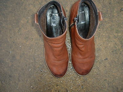 Designer Brown Leather Ankle Boots, Size Uk 5 / 38