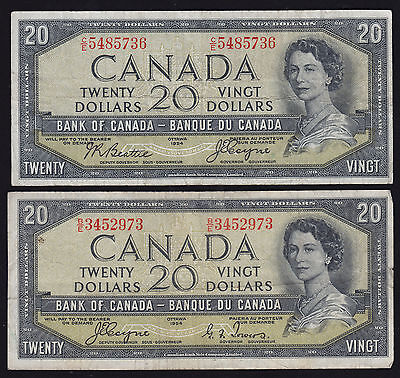 Lot of Two Bank of Canada $20 Devil's Face Notes