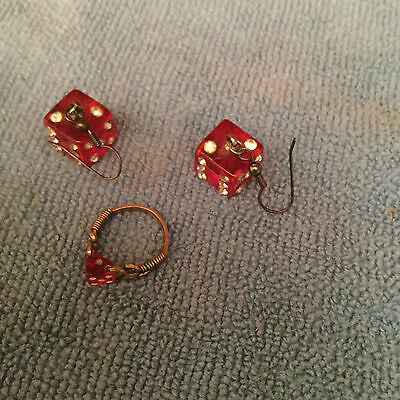 Pair Of Dice Bakelite Catalin Earrings With Matching Ring