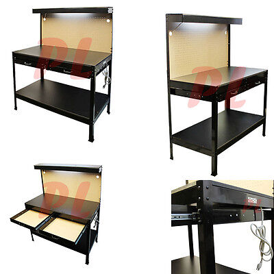 Multipurpose Workbench W/ Lighting 3 Outlet Plug Tool Workstation Tool Storage