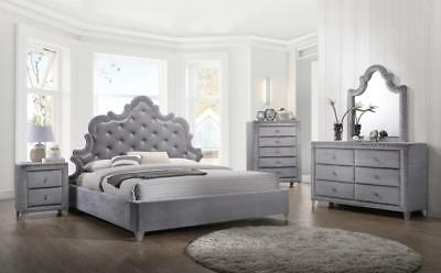 Meridian Sophie King Size Bedroom Set 5pcs in Grey Velvet Contemporary Style