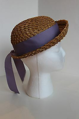 Vintage Straw Child's Hat With Lavender Ribbon Band