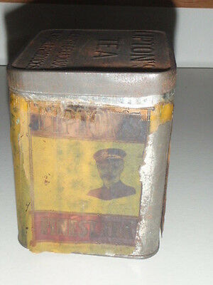 Vintage Lipton's Tea Tin Ceylon Planter Paper Label Copyright 1932 Metal W/lid