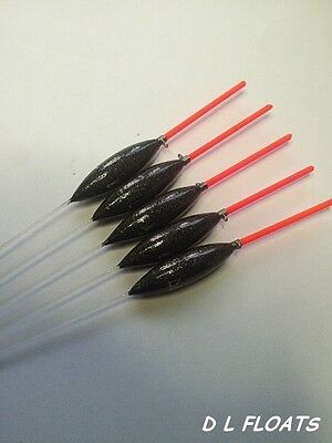 6x `DL` HAND MADE POLE FLOATS `Slims`0.2g Red Tips