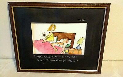 Original pen / watercolour cartoonist art framed and signed